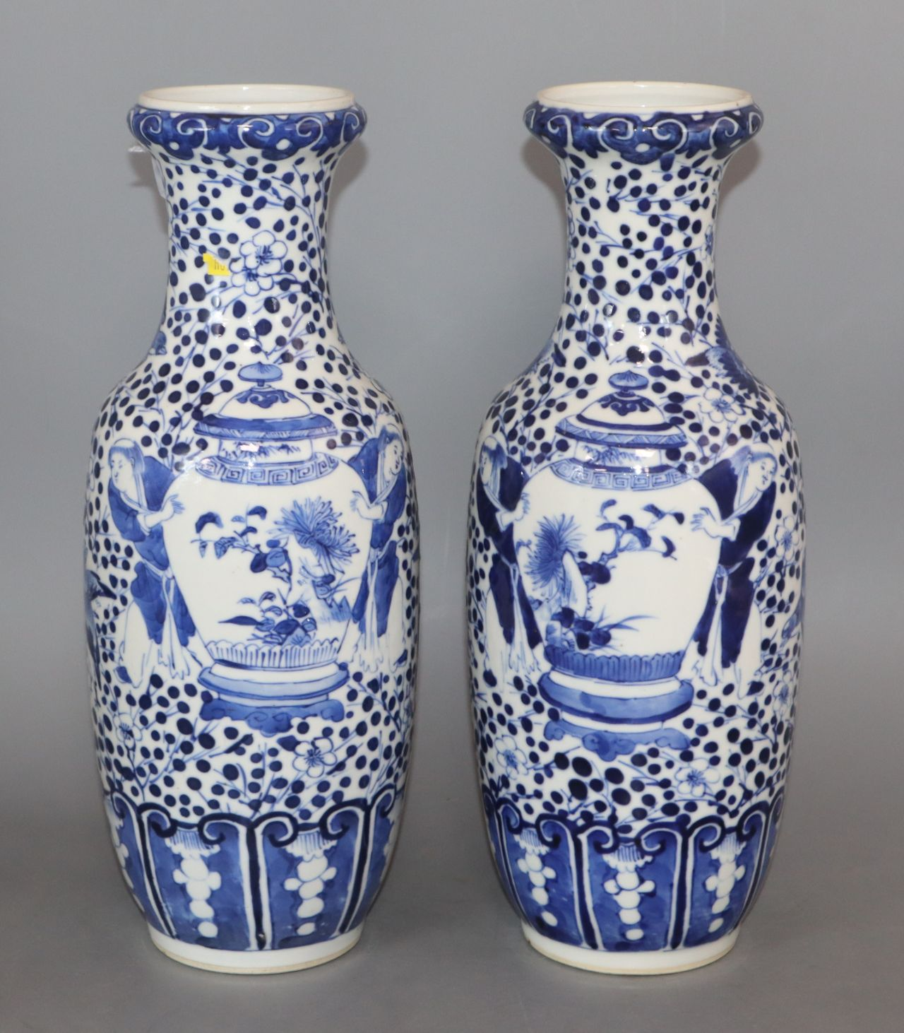 A pair of 19th century Chinese blue and white vases height 30cm