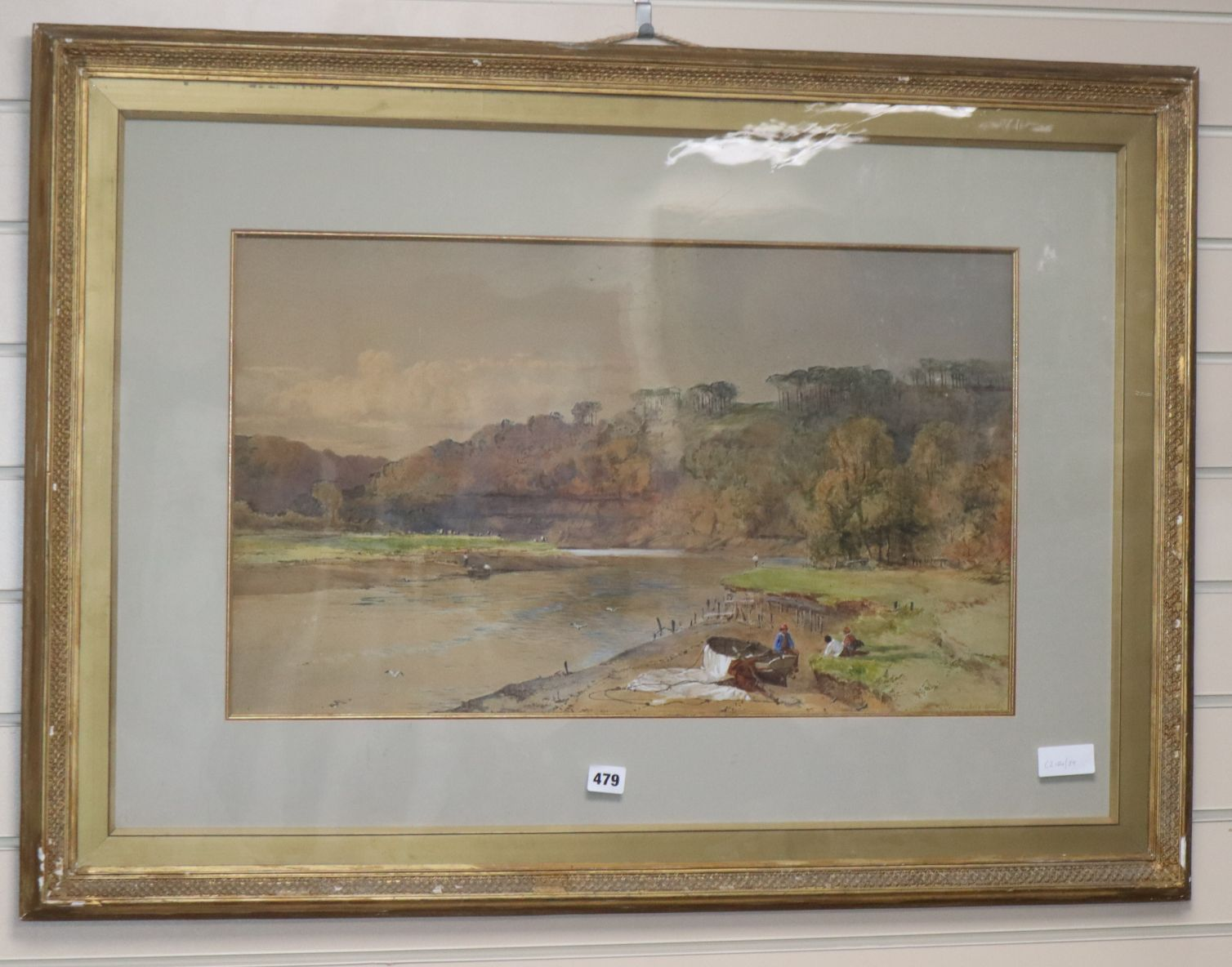 Lot 479 - Charles Branwhite, watercolour, Fishermen in a river landscape, signed and dated 1868, 39 x 66cm