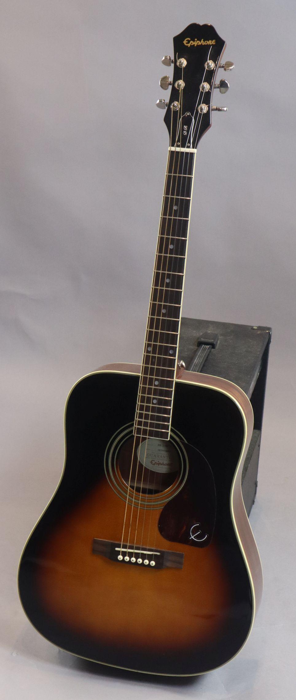 Lot 124 - An Epiphone D R 220 vintage sunburst Dreadnought acoustic guitar, with padded bag