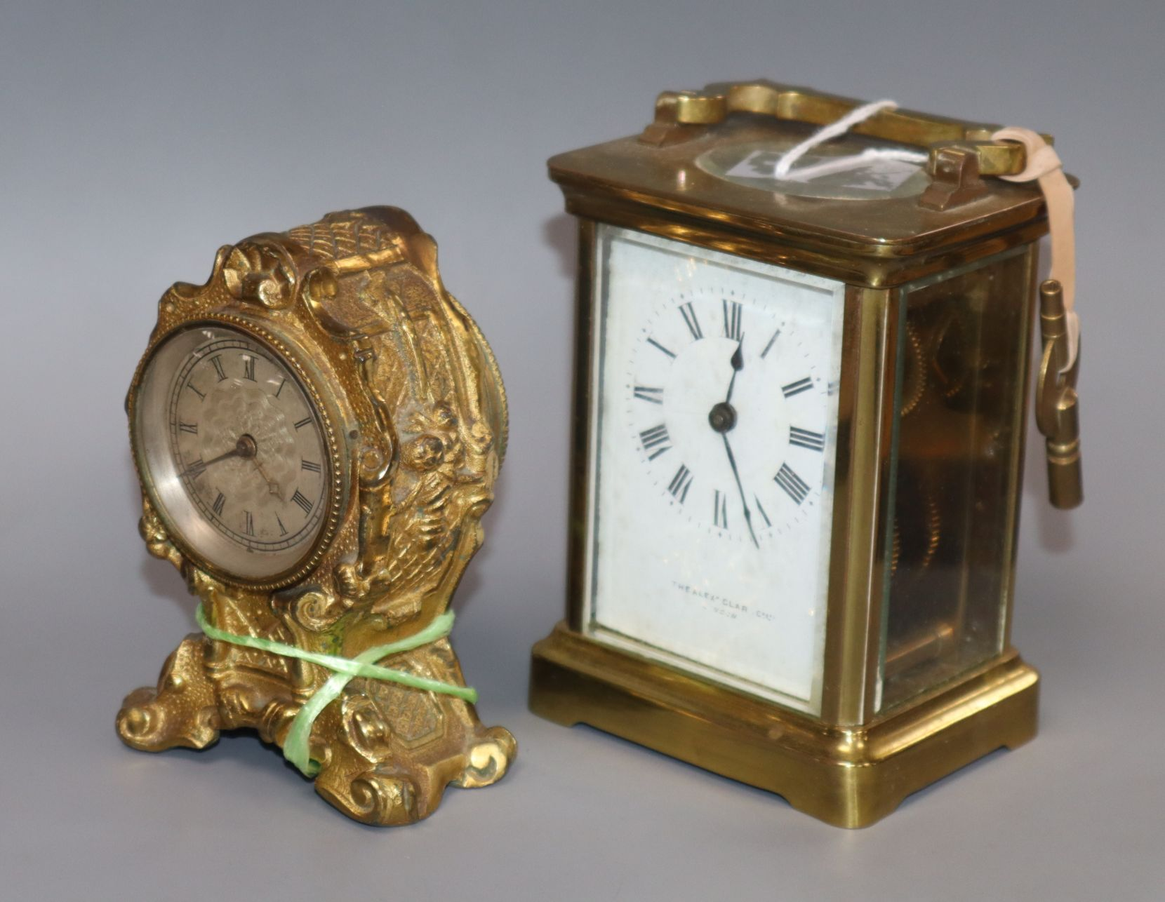 Lot 315 - A carriage clock and a gilt timepiece