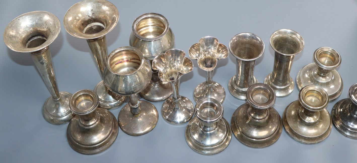 Four assorted pairs of silver posy vases including early 20th century and three pairs of silver