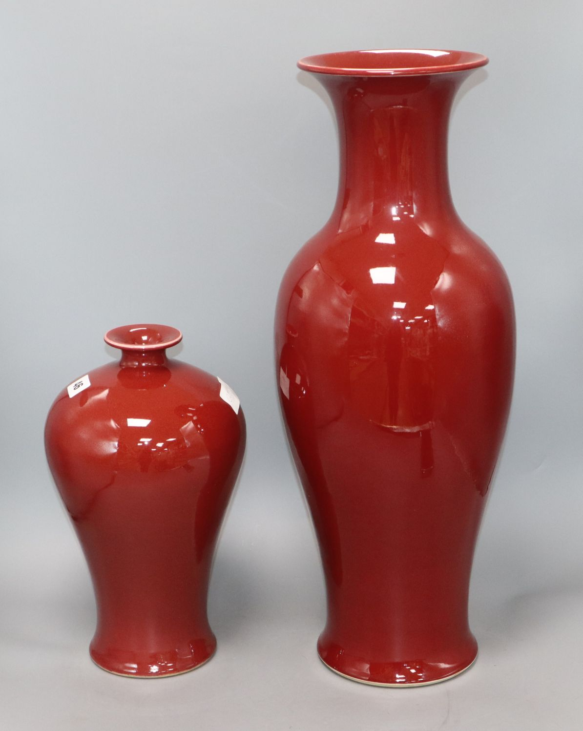 Lot 46 - Two Chinese sang de boeuf vases tallest 56.5cm