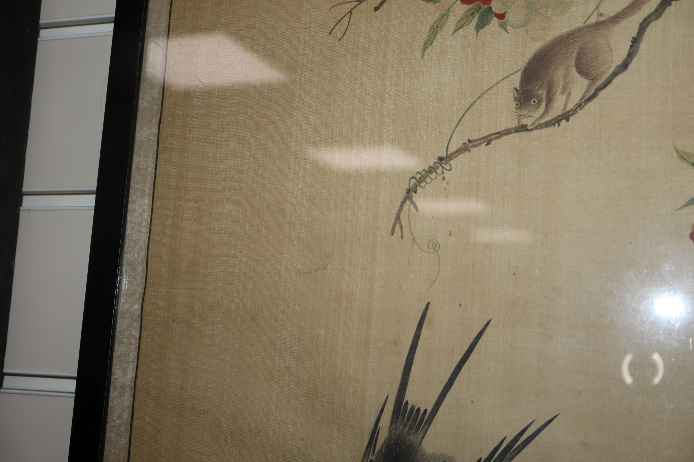 Lot 484 - Chinese School, pair of watercolours on silk, Study of birds and a squirrel on flowering branches,