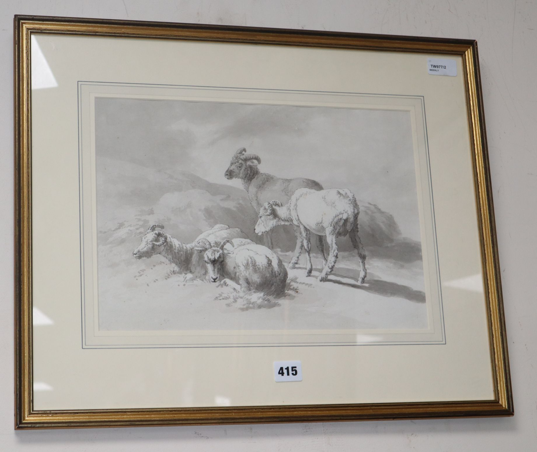 Lot 415 - Attributed to Robert Hills Ows (1769-1844), study of goats, pencil and wash, Abbott & Holder label
