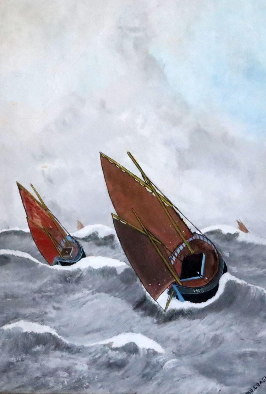 Lot 445 - John Craske (1881-1945), gouache on paper, Fishing smacks in rough seas, signed, 55 x 39.