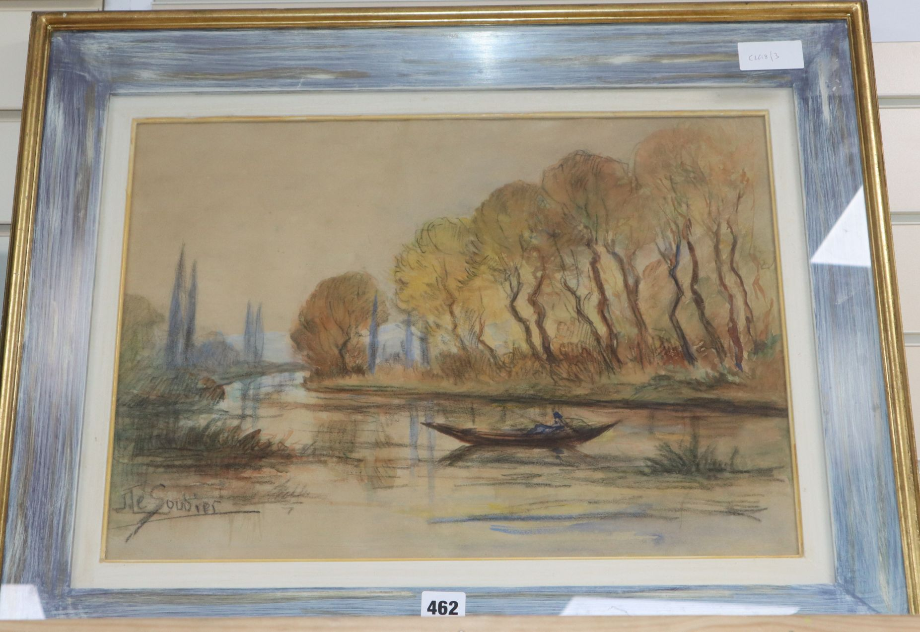 Lot 462 - J. Le Goudier, watercolour and charcoal, River landscape, signed, 35 x 50cm