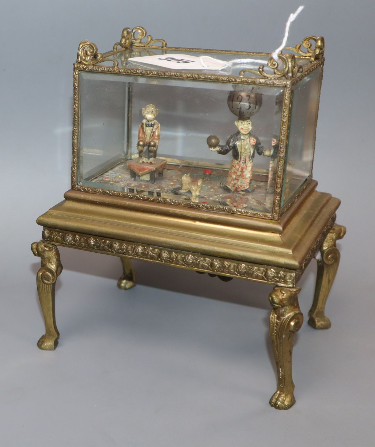 Lot 305 - An Austrian ormolu cased automaton figural timepiece with musical movement, early 20th century