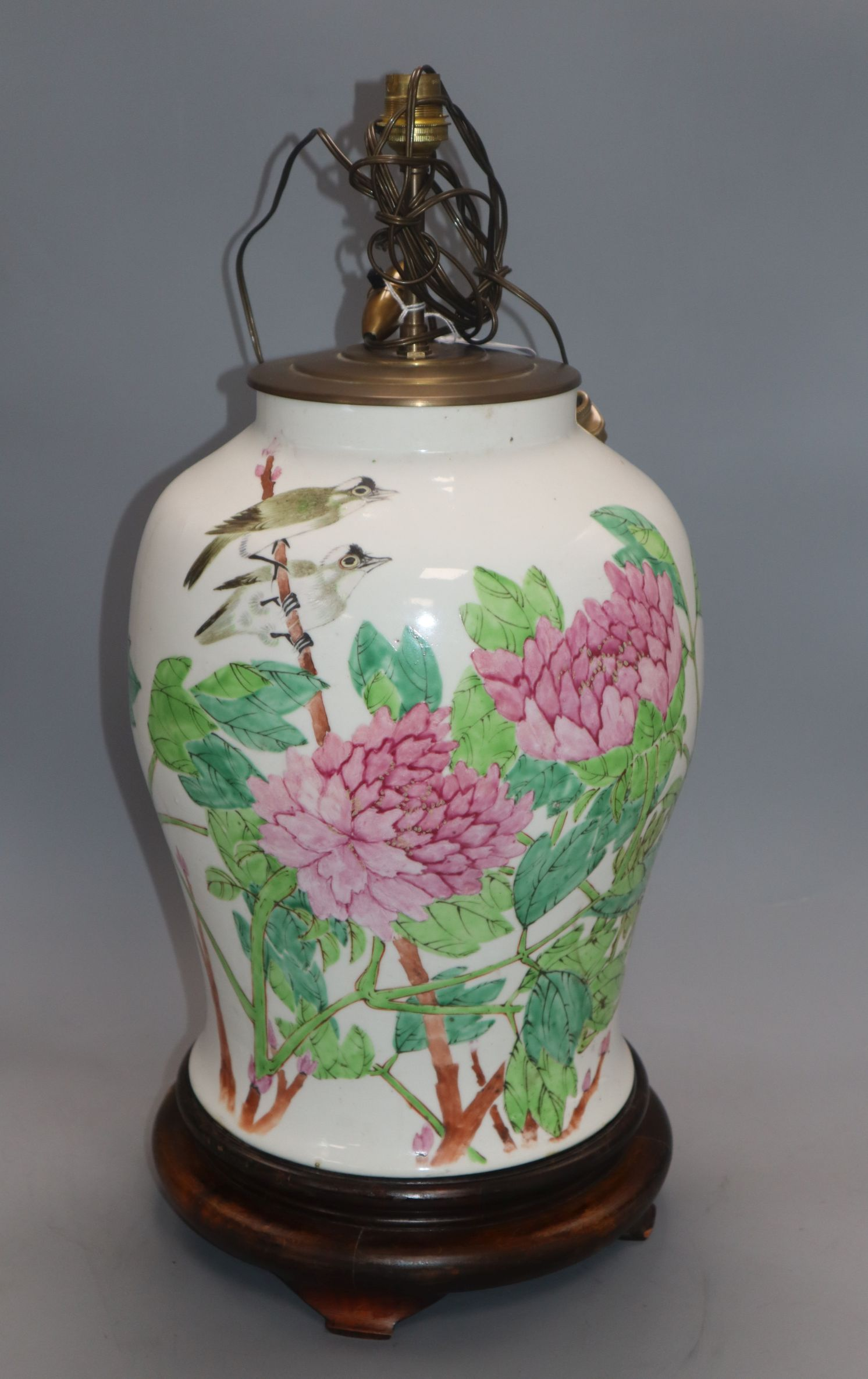 Lot 50 - A Republic period Chinese vase on stand, converted to a lamp height 43cm excluding fittings