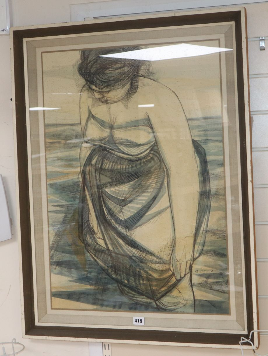 Lot 419 - Nigel Lambourne (1919-1998), 'The Paddler', charcoal, pastel and watercolour, Arthur Tooth & Sons