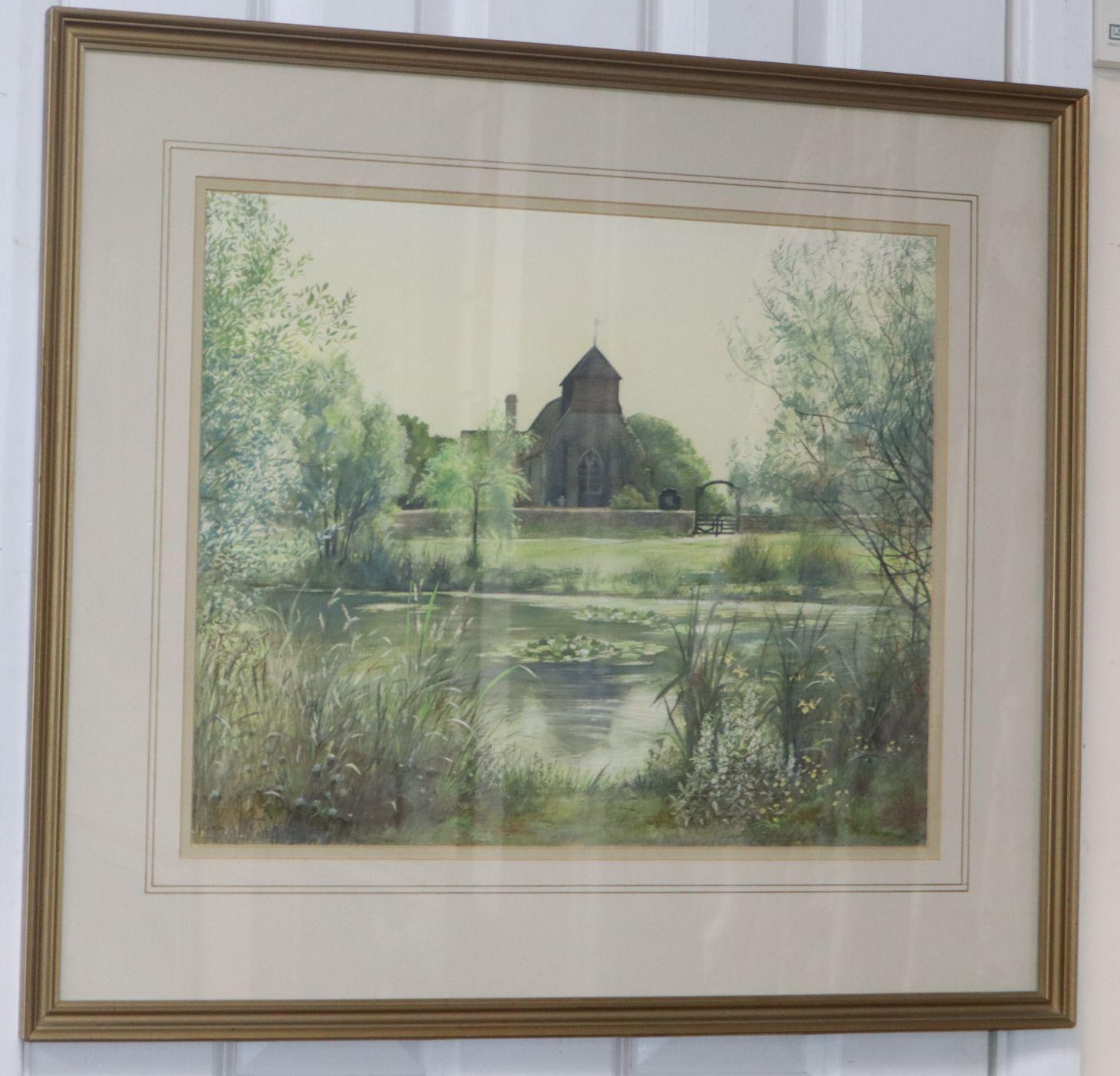 Lot 475 - Susan Jackman, watercolour, Friston Church, signed, 37 x 46cm.