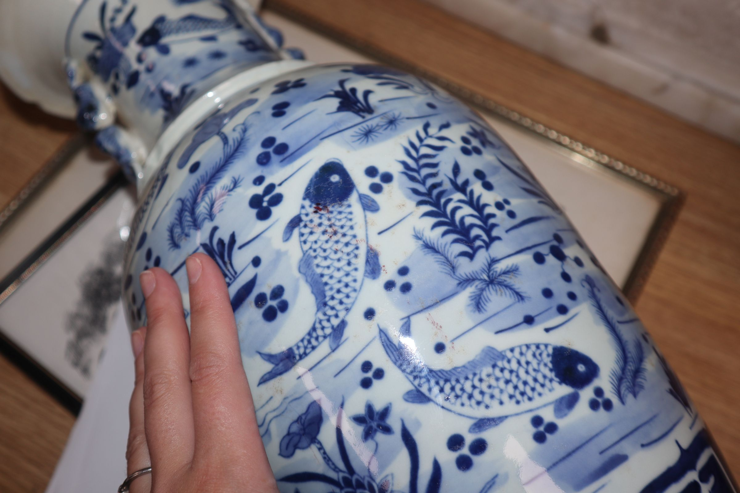 A Chinese blue and white fish vase height 43cm - Image 10 of 10