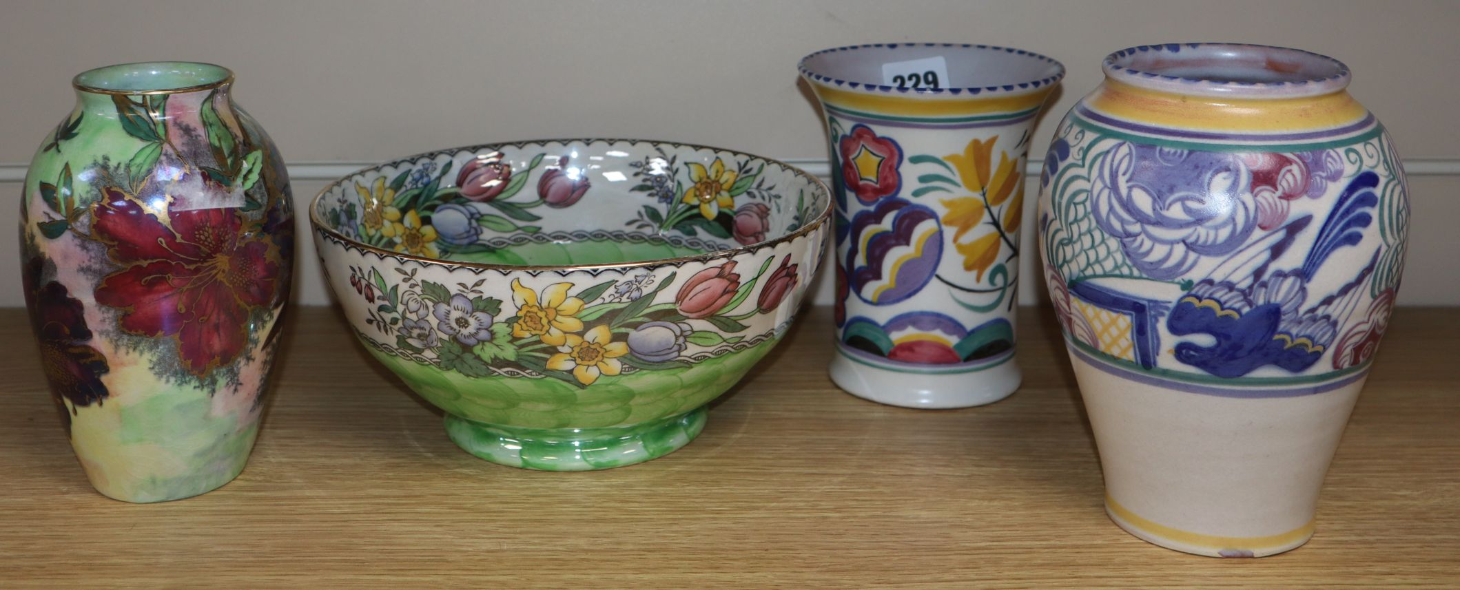 Lot 229 - Two Poole vases and two pieces of Maling ware