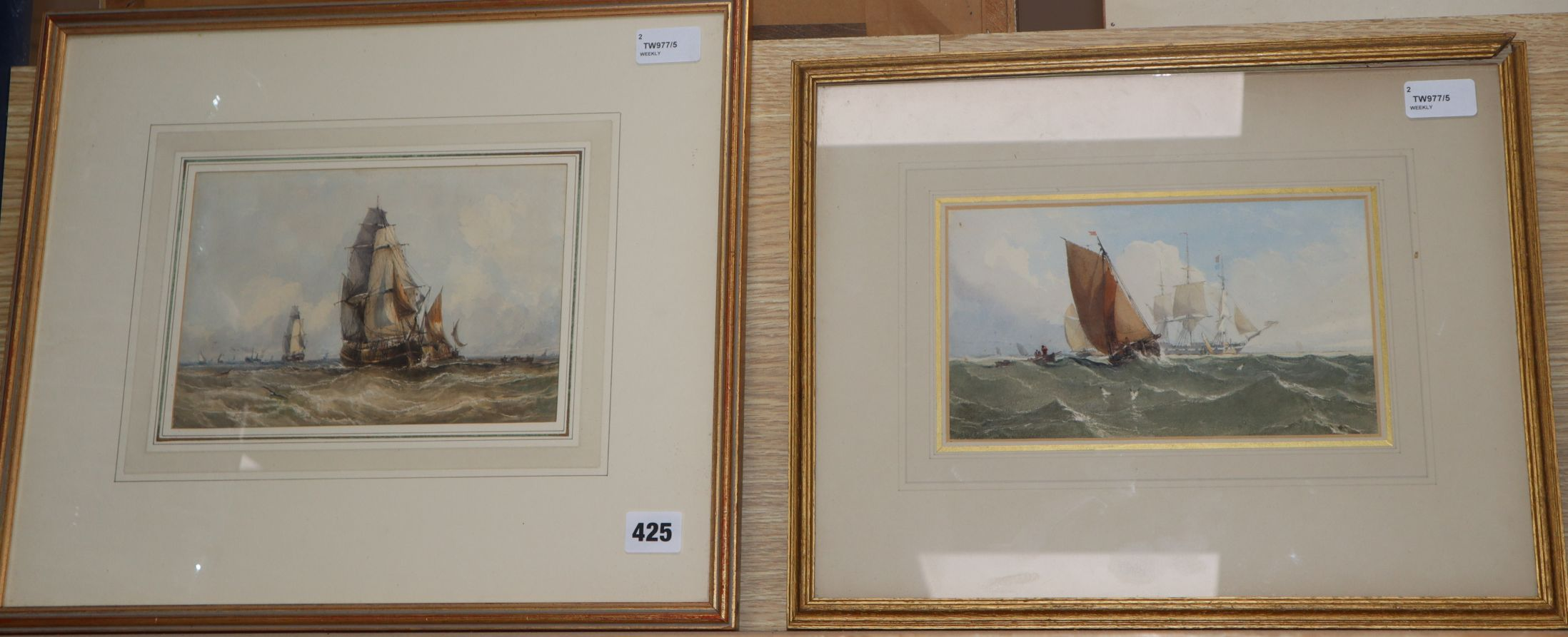 Lot 425 - Attrib. to Edward William Cooke (1811-1880), Shipping at the Mouth of the Thames (Fine Art Society
