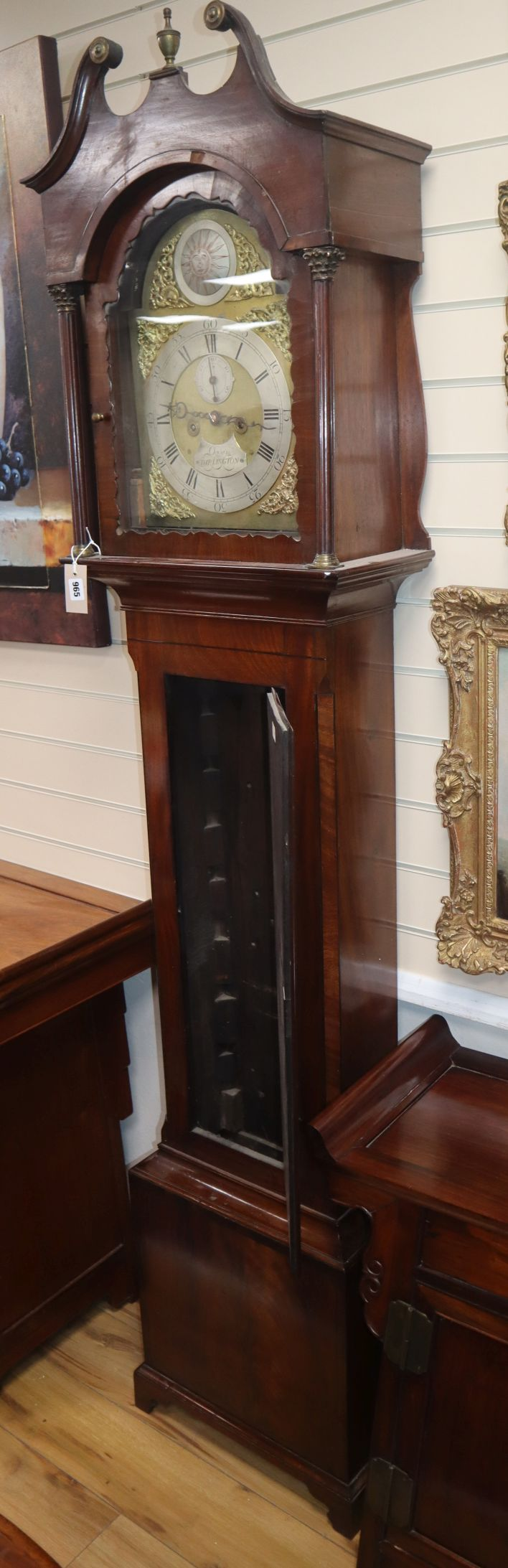 Lot 965 - A George III mahogany eight day longcase clock, the brass dial marked Ogden Darlington H.220cm