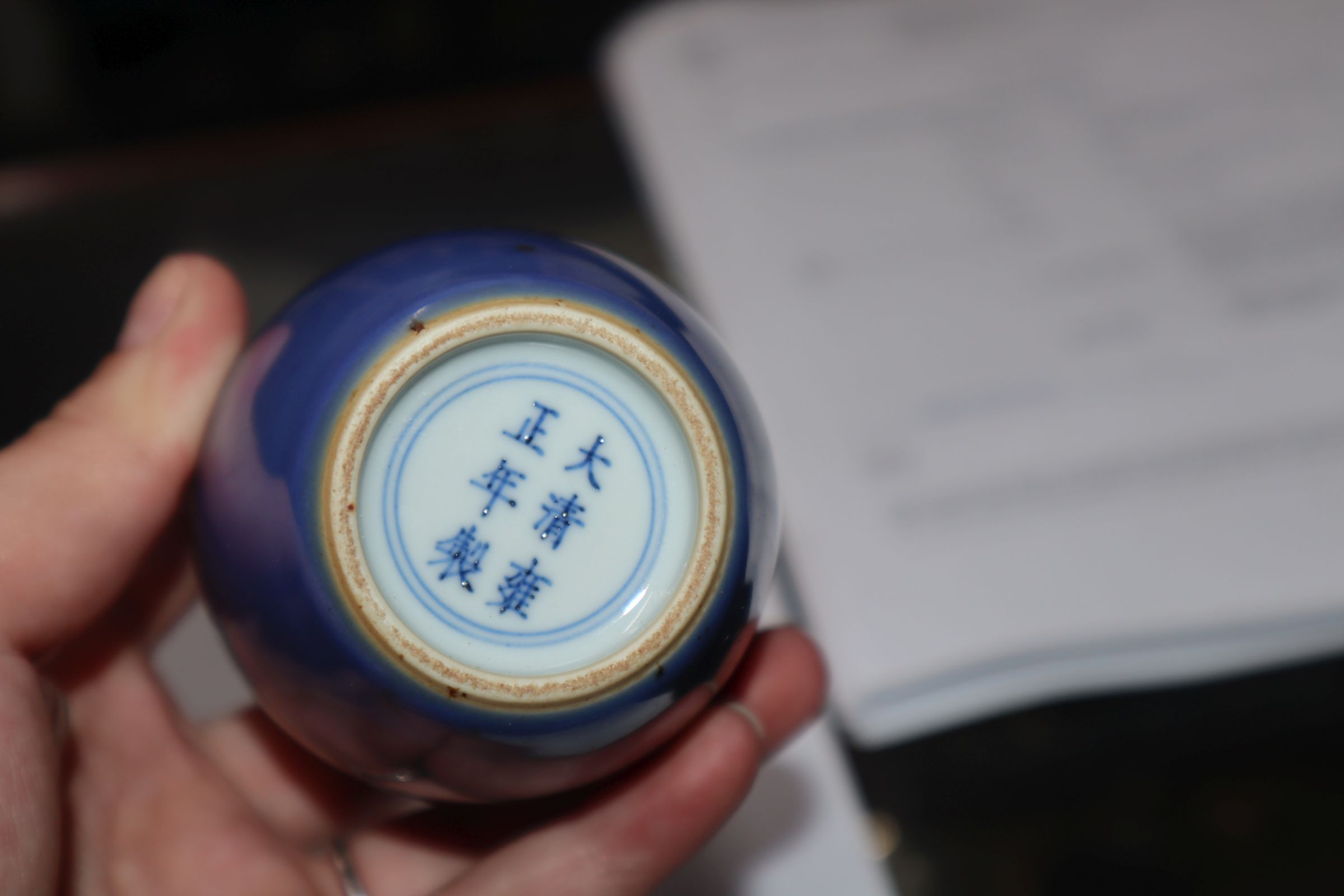 A pair of Chinese blue ground bottle vases - Image 7 of 8