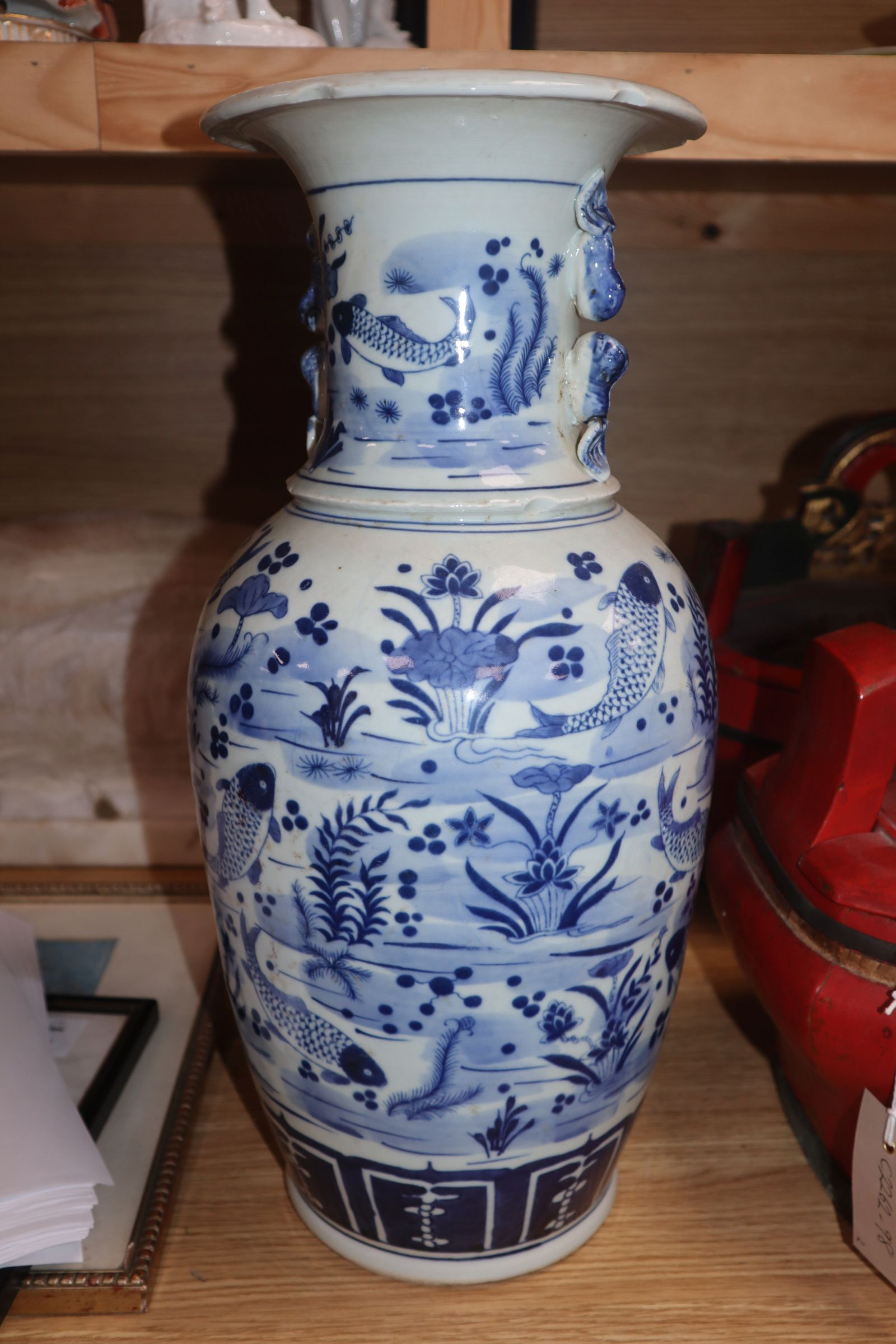A Chinese blue and white fish vase height 43cm - Image 7 of 10