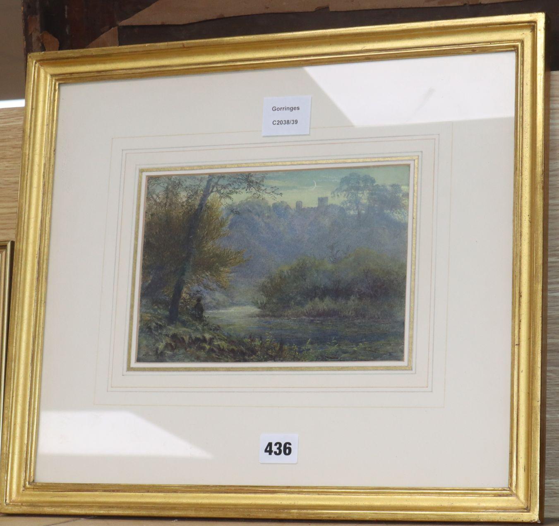Lot 436 - William Henry James Boot (1848-1918), watercolour and bodycolour, Romantic landscape, 15 x 22cm