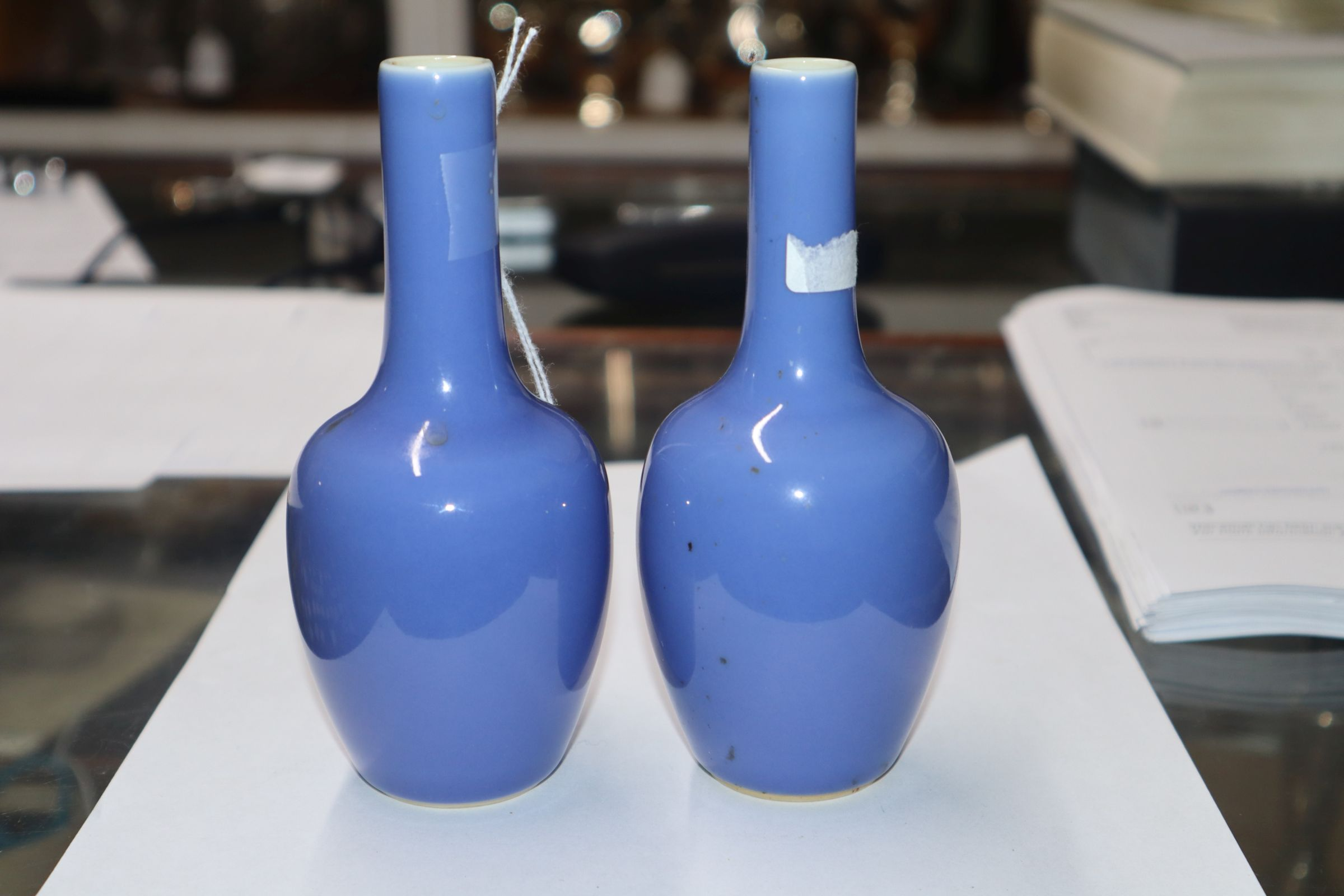 A pair of Chinese blue ground bottle vases - Image 4 of 8