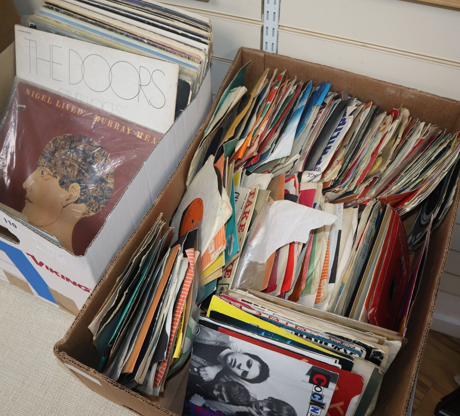 Lot 110 - A collection of 31 psych and rock LPs and large collection of punk and rockabilly singles, to