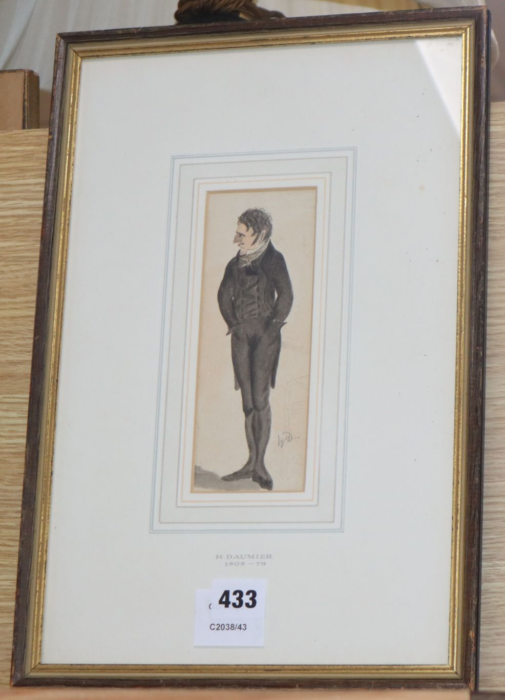 Lot 433 - Honore Daumier (1808-1879), ink and watercolour, Full length portrait of a gentleman, initialled, 18