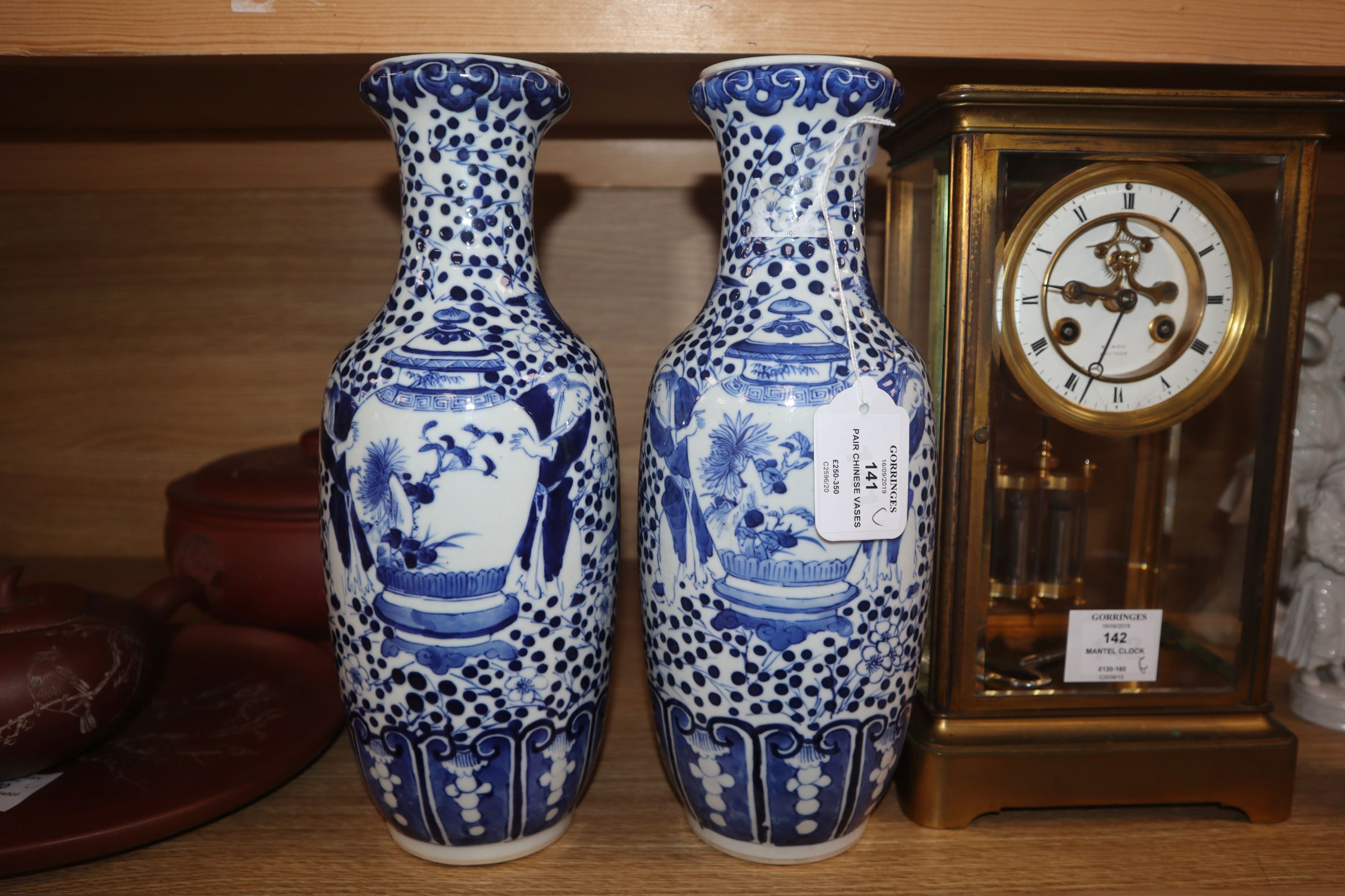 A pair of 19th century Chinese blue and white vases height 30cm - Image 2 of 7