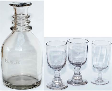 Great Eastern Railway glass CARAFE and 3 GLASSES. All four items are marked on the front G.E.R. All are in very good conditio