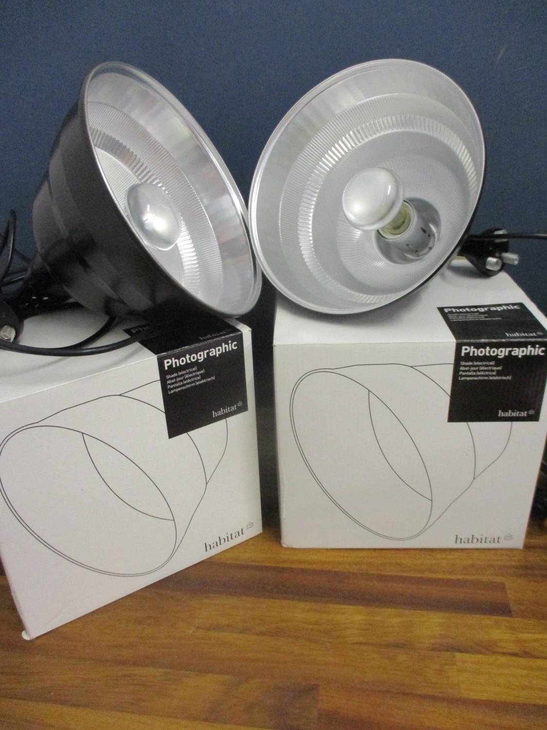Lot 6 - A pair of Habitat, boxed photographic lights in black, together with an anglepoise lamp