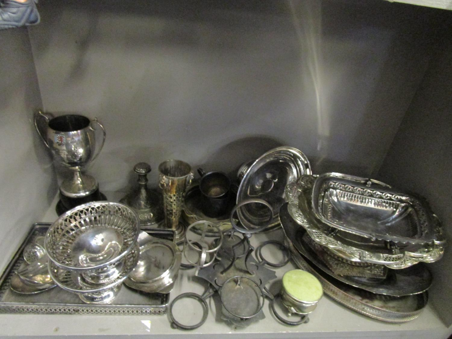 Lot 74 - A quantity of assorted silver plate to include a three piece teaset, Goodwood motor racing cup circa
