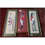 Three framed and mounted over painted prints of British soldiers from 1812 and 1756