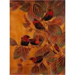 GASTON SUISSE (1896-1988) Panneau rectangulaire en laque à décor d'ignicolores dans un riche décor