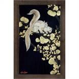 GASTON SUISSE (1896-1988) Écureuils de Malaisie dans un arbre de Judée Panneau de laque gravé, circa