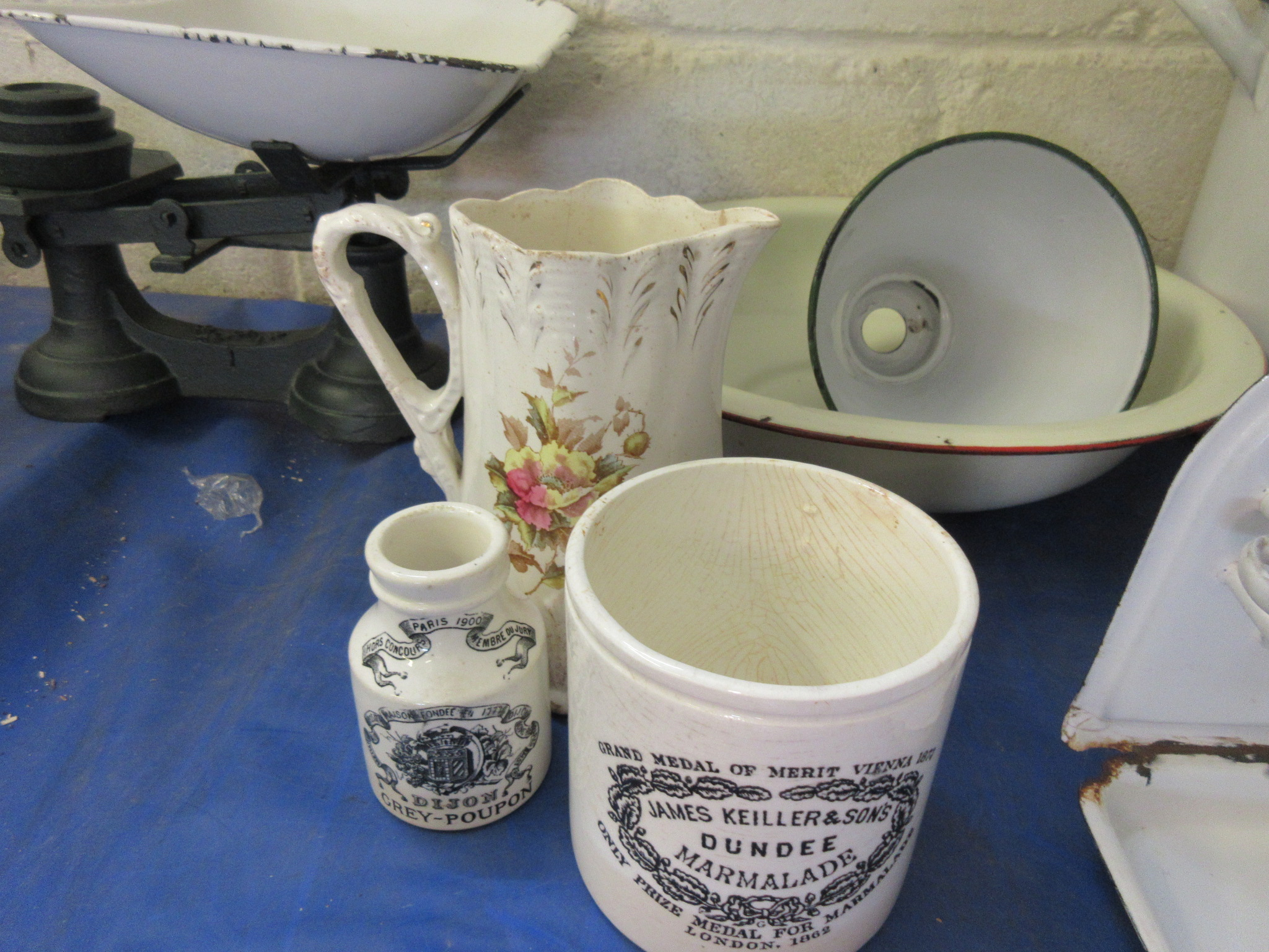 Lot 25 - A marmalade pot together with a Dijon mustard bottle and a floral milk jug