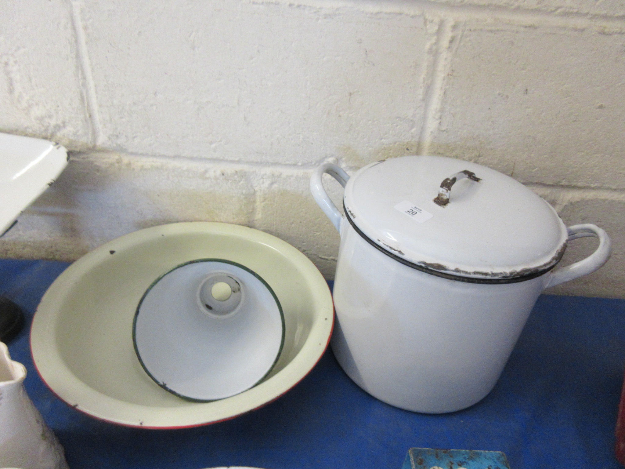 Lot 20 - Three enamel pieces comprising bread crock mixing bowl and lampshade