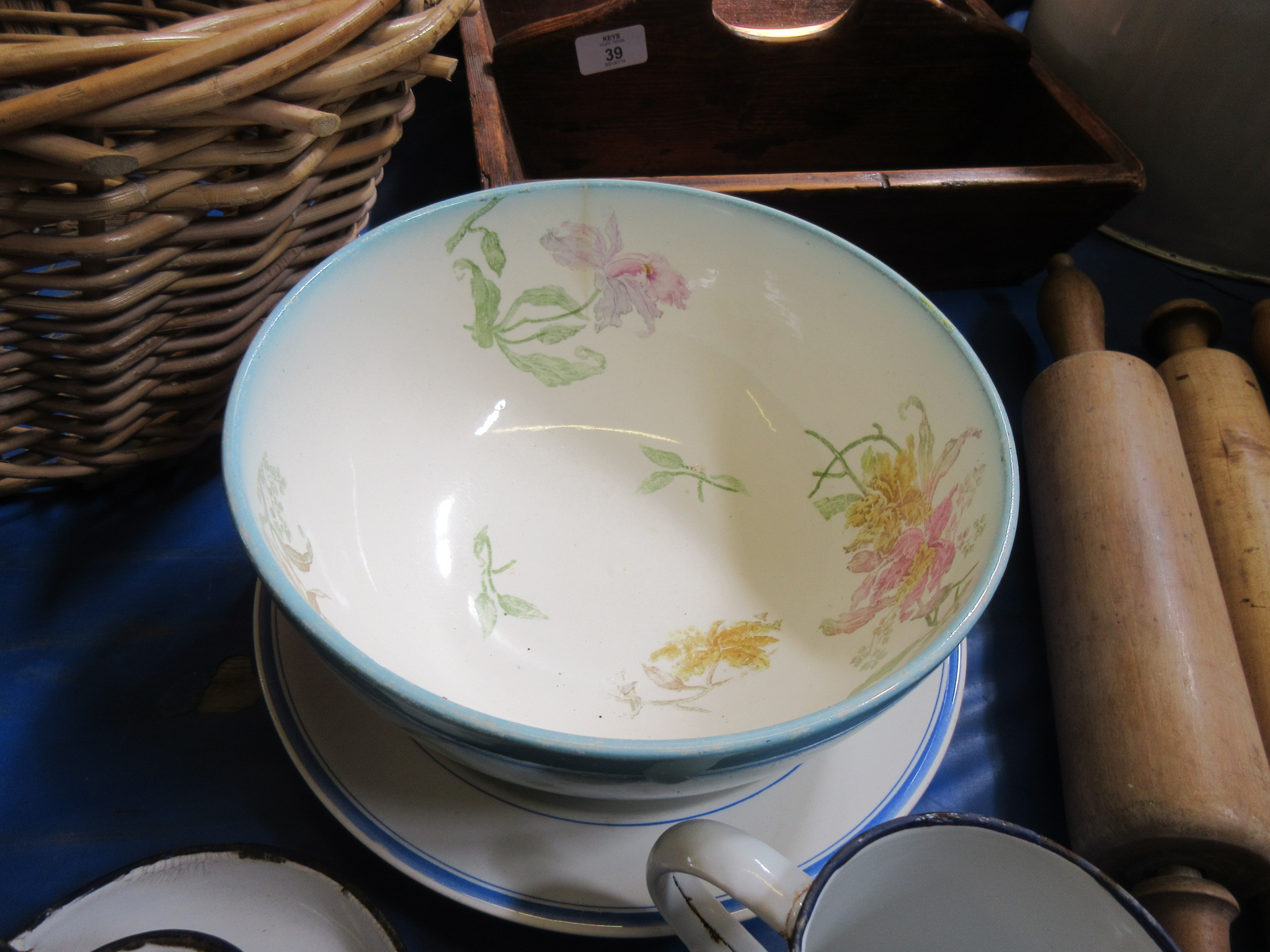 Lot 44 - Blue and white dish together with floral decorated1920s bowl