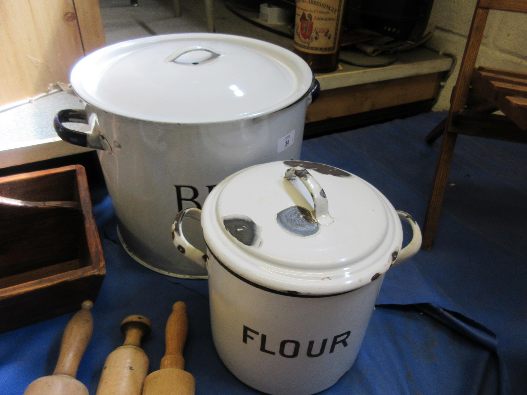 Lot 38 - Large enamel bread bin and flower bin
