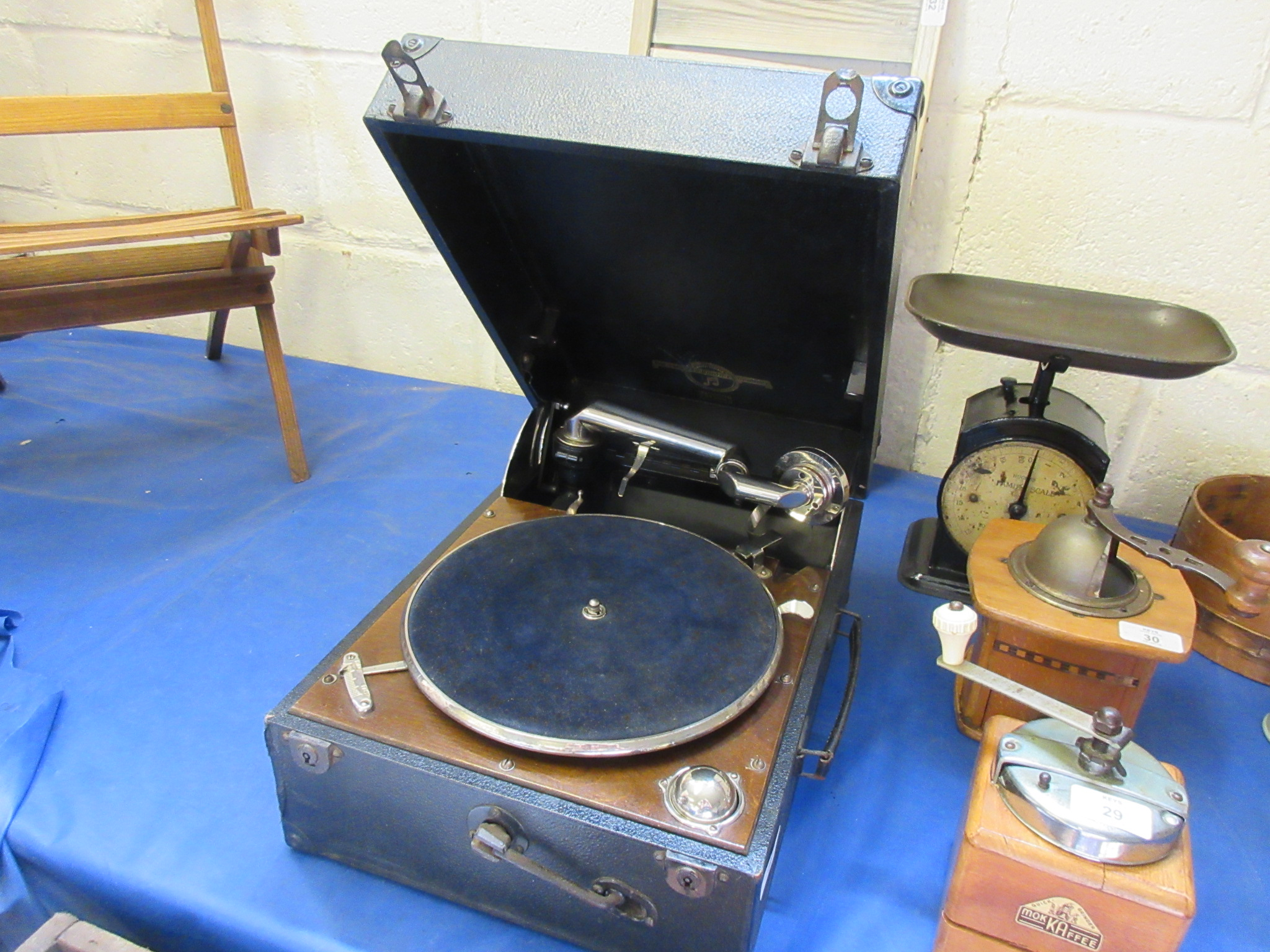 Lot 34 - Gramophone player and two boxes of 78 records