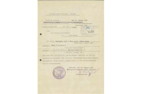 POLIZEILICHES FÜHRUNGSZEUGNIS OSTHOFEN 14.Januar 1936Zeugnis mit ...