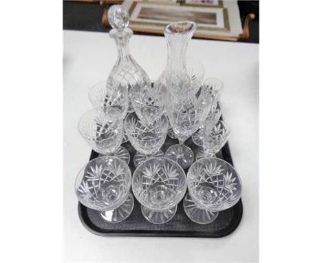 A tray of glass, decanter (Af), wine carafe, crystal glasses etc  CONDITION REPORT: The decanter has a chip to it, but the re