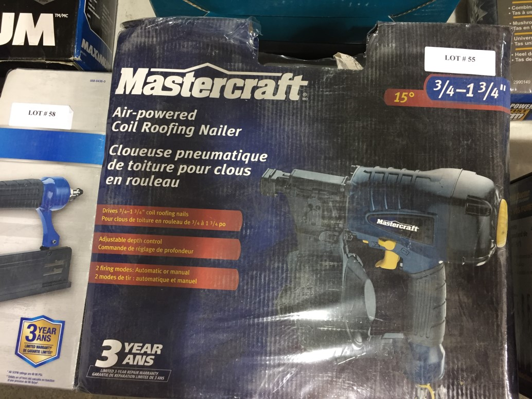 """Lot 55 - Mastercraft Air-powered Coil Roofing Nailer 3/4"""" - 1 3/4"""""""