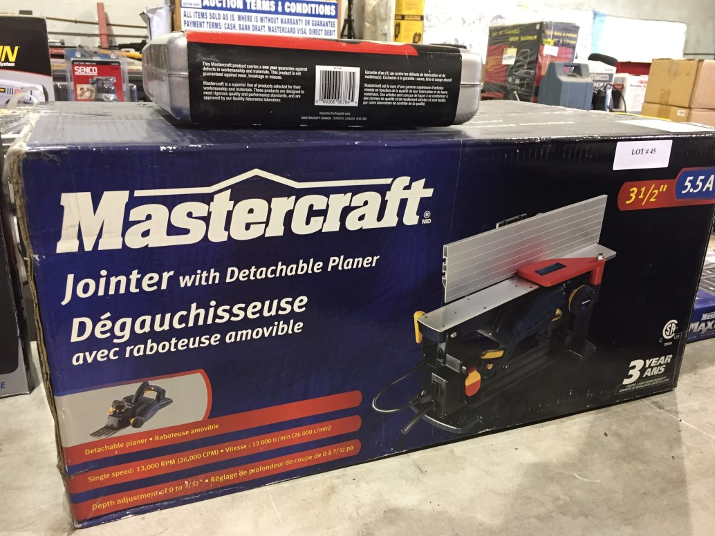 """Lot 45 - Mastercraft Jointer with Detatchable Planer 3 1/2"""" 5.5A"""