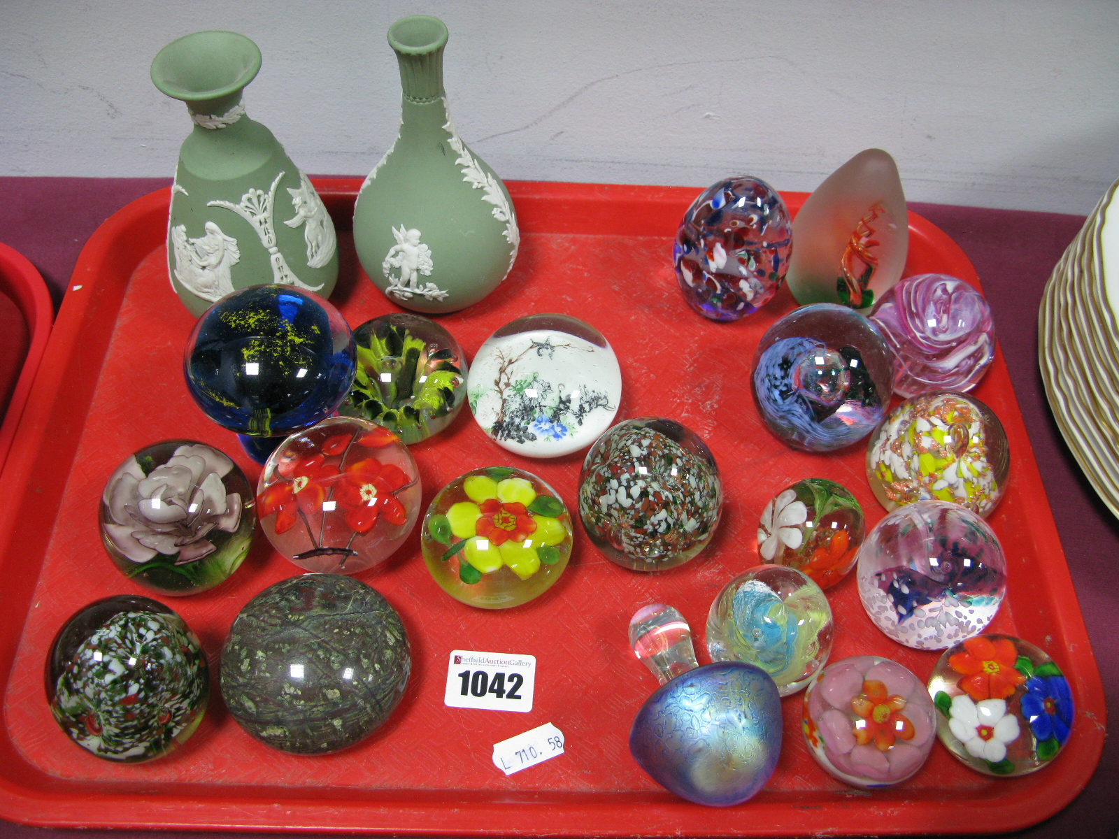 Lot 1042 - Glass Paperweights, to include, iridescent mushroom, ovoid, mottled, no visible markers names, two