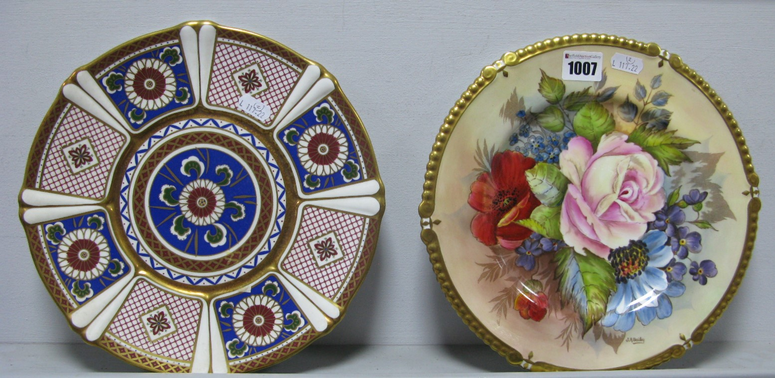 Lot 1007 - An Aynsley Bone China Cabinet Plate, handpainted with summer flowers and foliage to gilt beaded