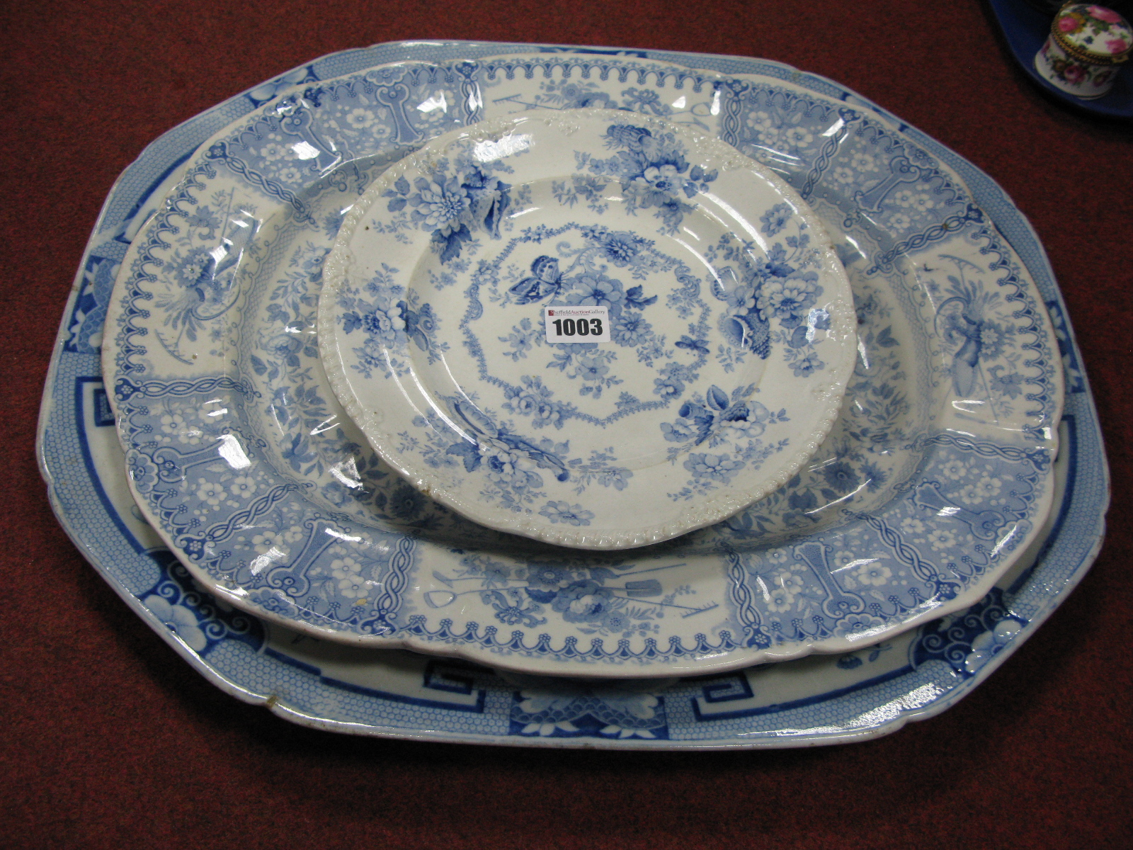 Lot 1003 - A Mason's Ironstone China Meat Dish, with well, of shaped rectangular form printed in blue with