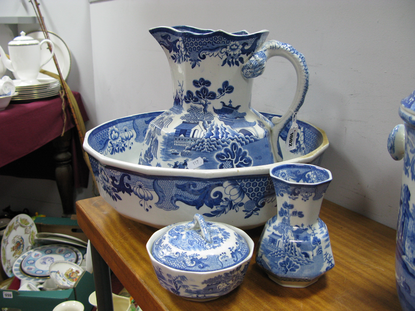 Lot 1002 - An Early XX Century Mason's Ironstone Toilet Jug and Bowl, Toothbrush Holder and Soap Dish,