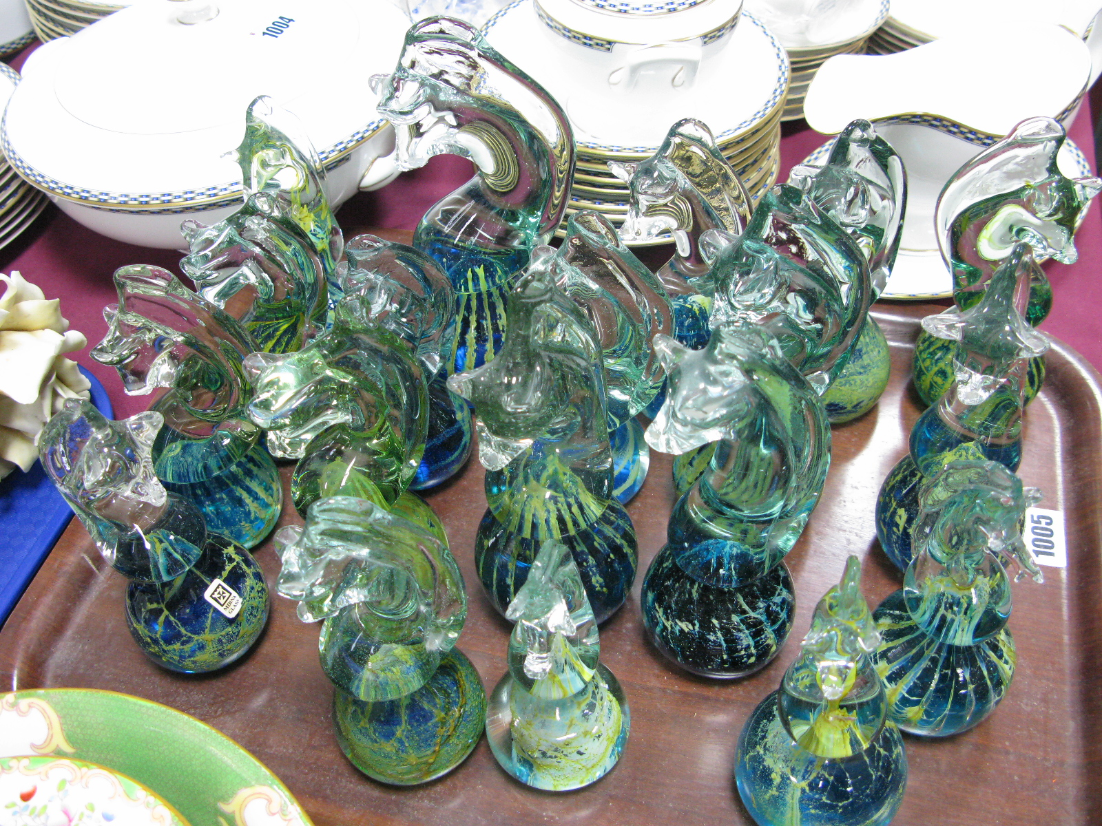 Lot 1005 - Mdina, Glass Seahorses, each with etched makers marks. (19)