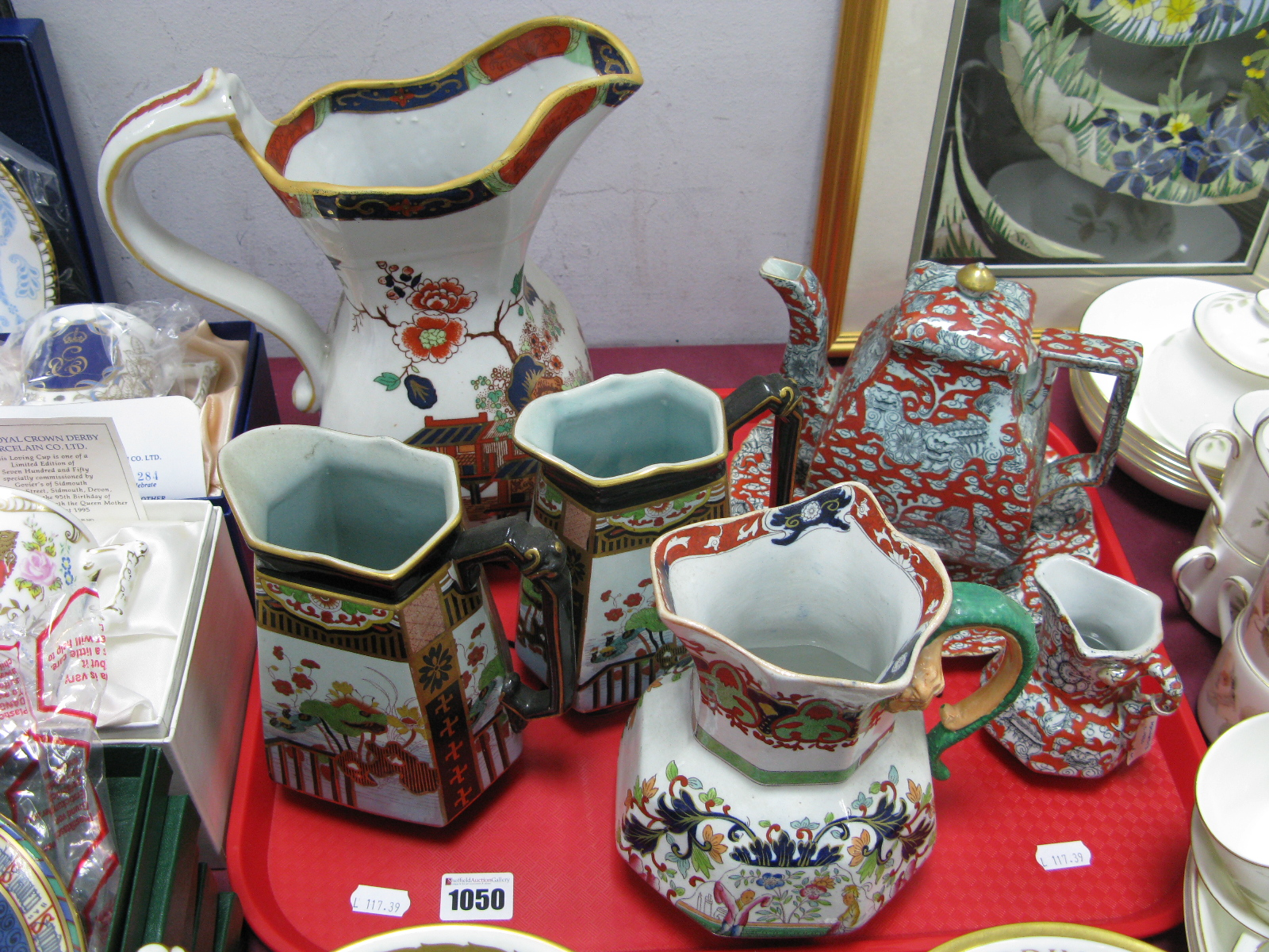 Lot 1050 - Ashworth's Ironstone Teapot, decorated with Chinese mythologiocal beasts on iron red ground, a