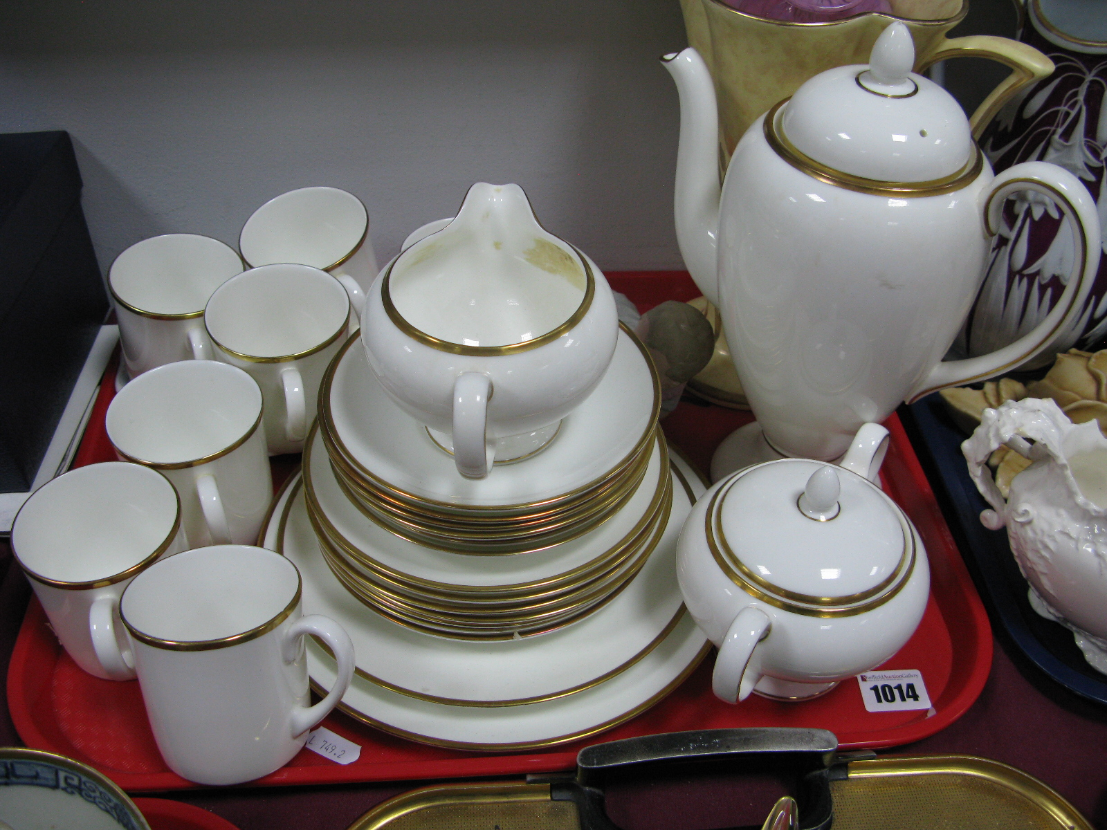 Lot 1014 - A Wedgwood 'California' China Coffee Service, bisque piano baby, Mdina pink mottled vase, Arthur