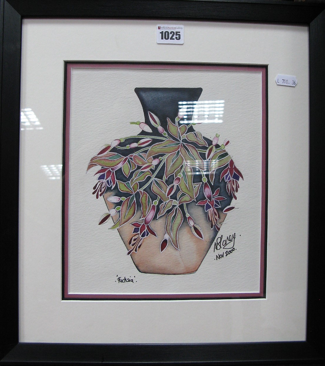 Lot 1025 - A Moorcroft Nicola Slaney Original Watercolour of 'Fuchsia', 25.5 x 22cm, signed and dated