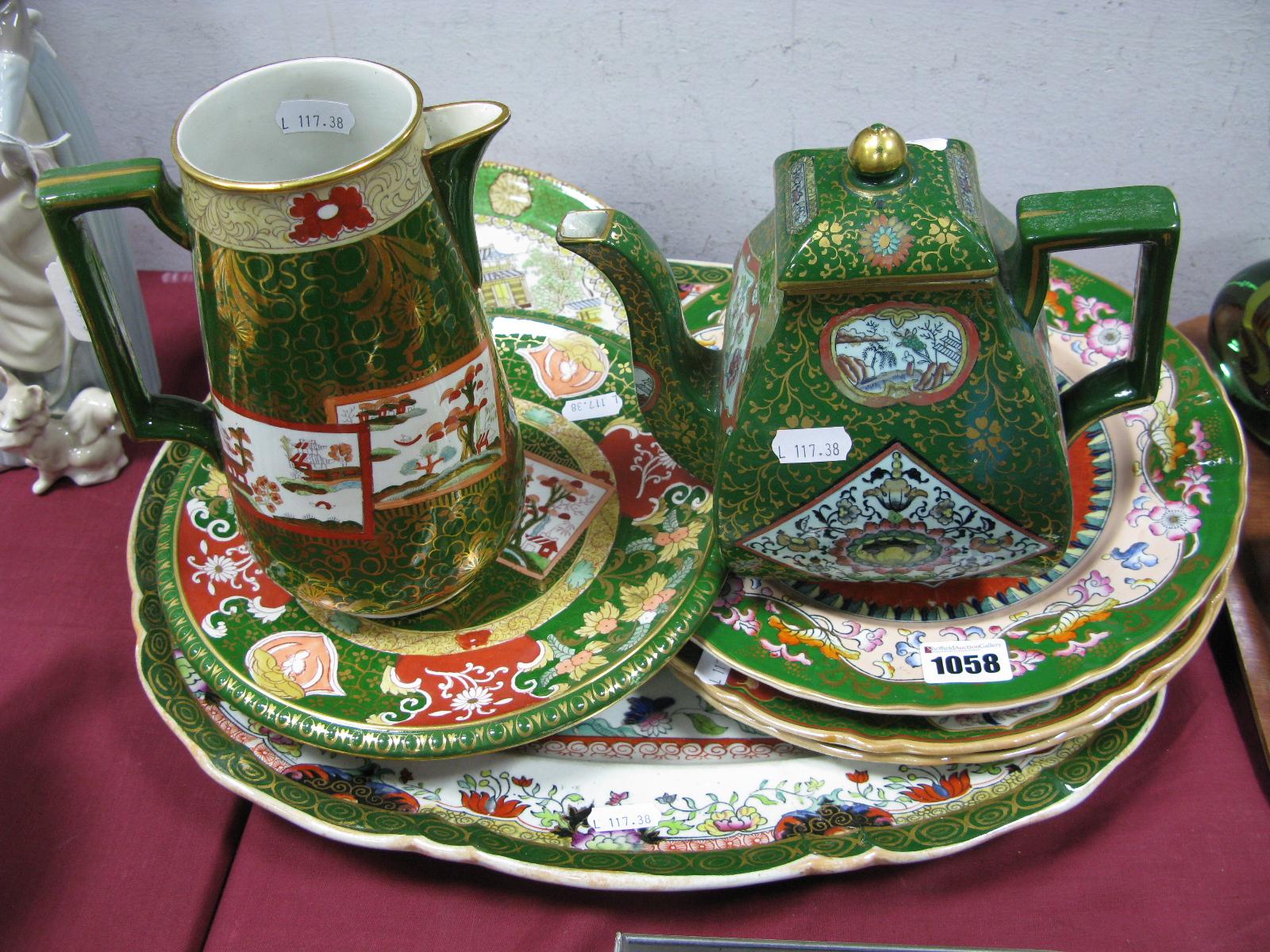 Lot 1058 - Ashworth's Ironstone China Comport, in the Double Landscape pattern, a similar jug, teapot Mason's
