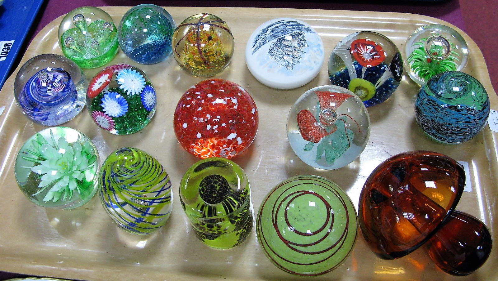 Lot 1039 - Glass Paperweights, to include mushroom, swirl, Murano Galleon. (16):- One Tray